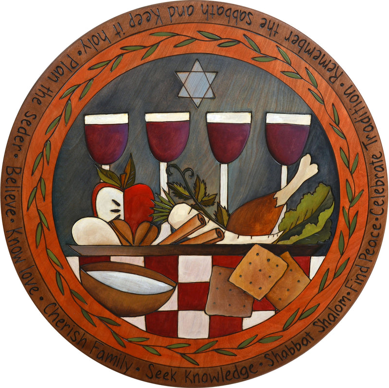 "Sticks Handmade 20""D lazy susan with wine goblets, a festive meal and the star of david"