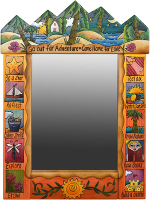 "Medium Mirror –  ""Go out for Adventure/Come Home for Love"" mirror with sunny paradise on tropical island motif"