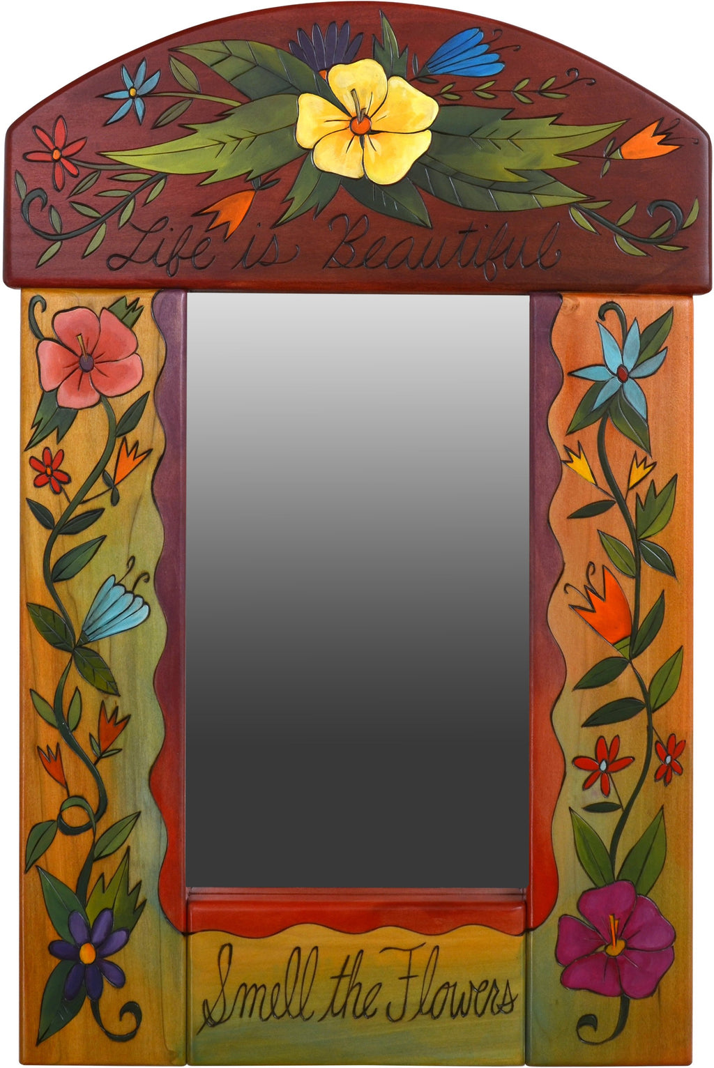 "Small Mirror –  ""Life is Beautiful, Smell the Flowers"" mirror with floral motifs"