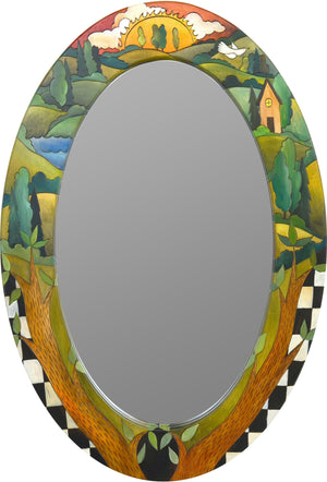 Oval Mirror –  Colorful landscape mirror with sunrise and black and white checks
