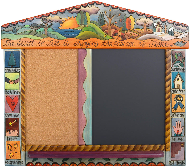 "Small Activity Board –  ""The Secret to Life is Enjoying the Passage of Time"" activity board with changing of the four seasons on the horizon motif"