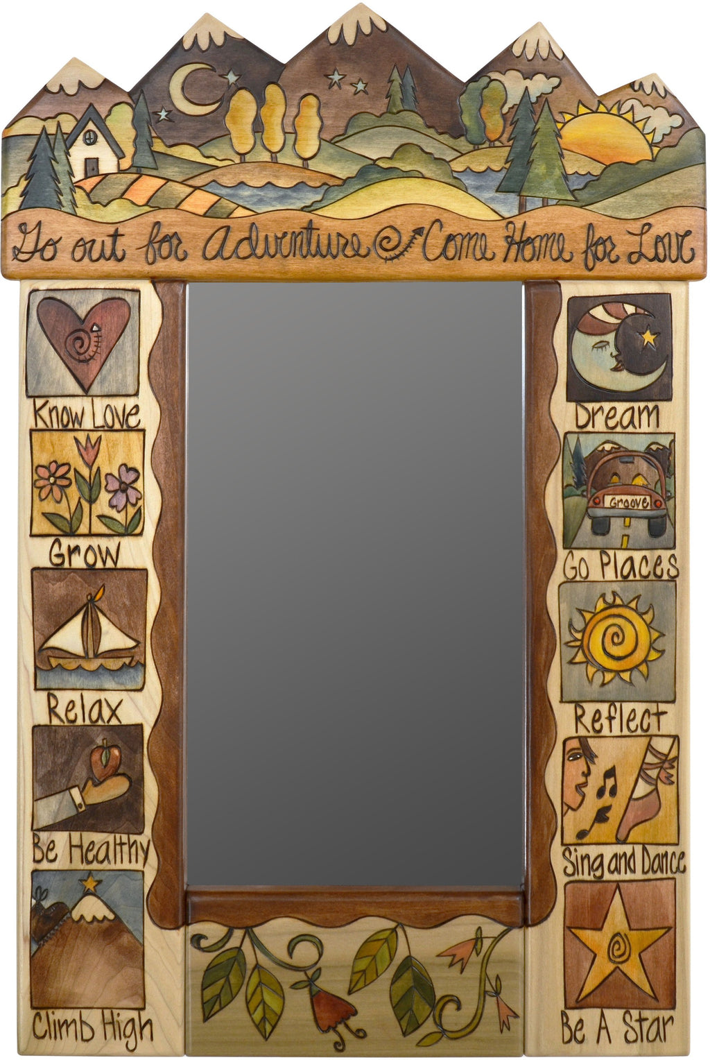 "Small Mirror –  ""Go out for Adventure, Come Home for Love"" elegant and neutral mirror with mountain landscape"