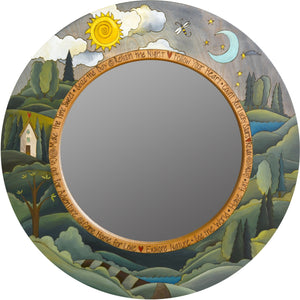 "Large Circle Mirror –  ""Seize the Day/Relish the Night"" circle mirror with sun and moon over the horizon motif"