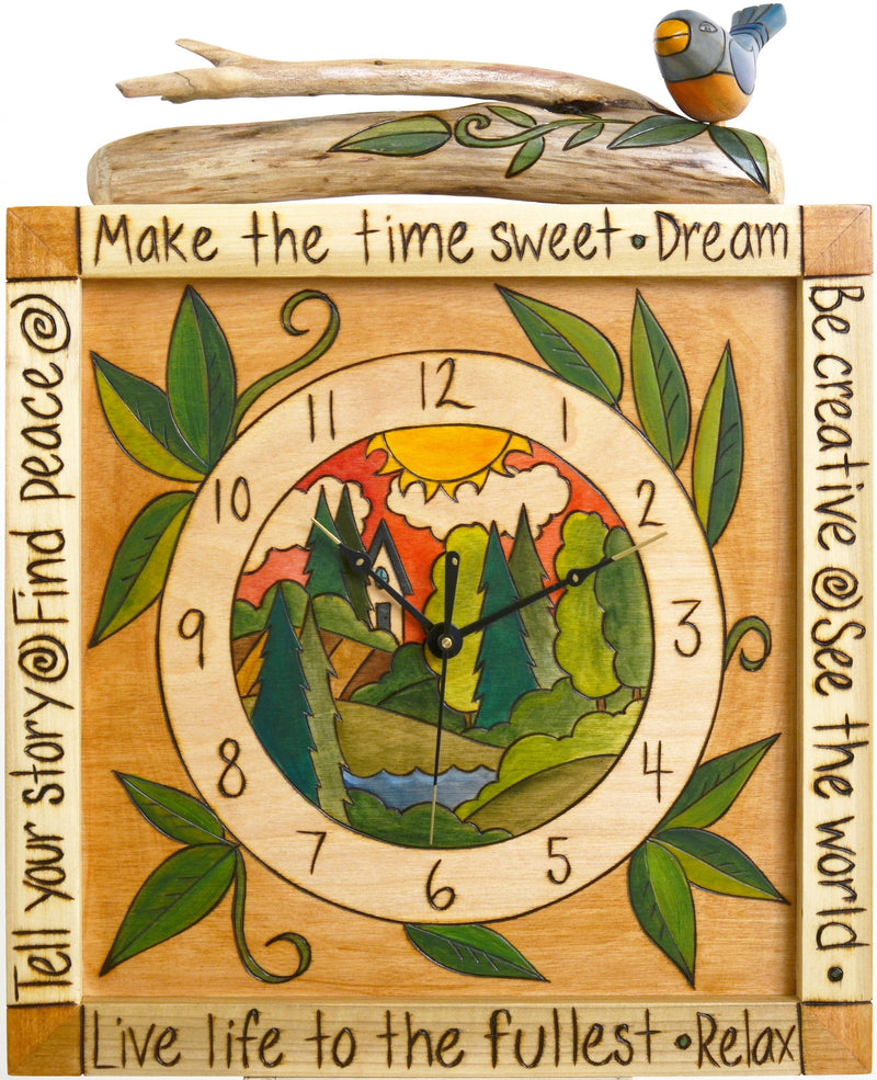 Square Wall Clock –  Landscape design with driftwood and bird embellishments