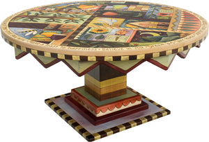 "Round Coffee Table –  ""Seize the Day/Relish the Night"" round coffee table with sun, moon and tree of life motif"