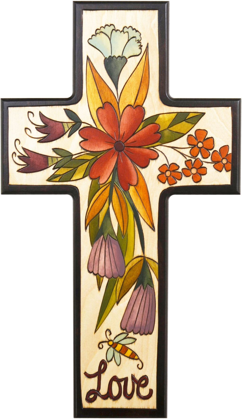 Cross Plaque –  Love cross plaque with floral motif
