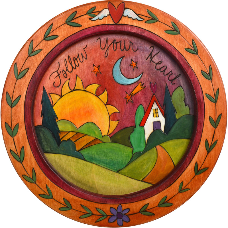 "16"" Round Tray –  Follow your Heart round tray with sunset on the horizon motif"