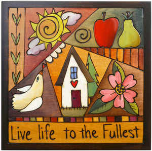 "Sticks handmade wall plaque with ""Live Life to the Fullest"" quote and colorful quilt design"