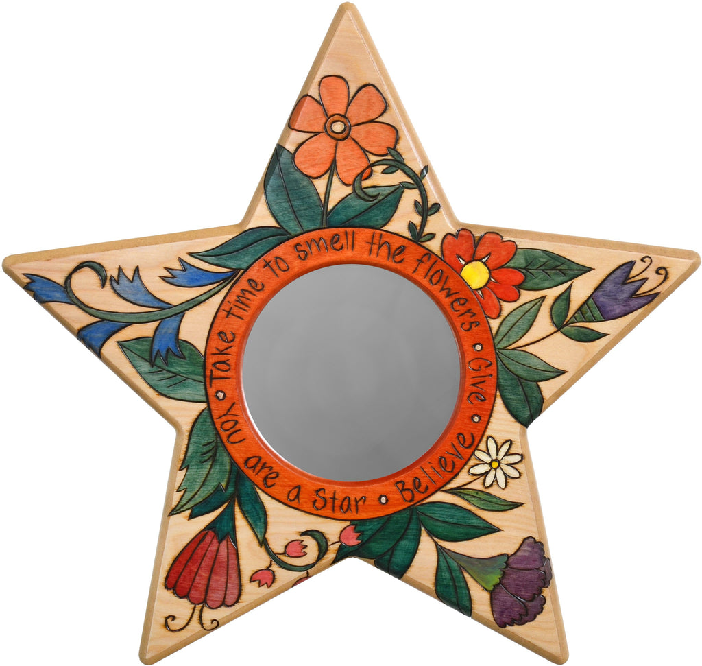 "Star Shaped Mirror –  ""Take Time to Smell the Flowers"" star-shaped mirror with beautiful floral motif"