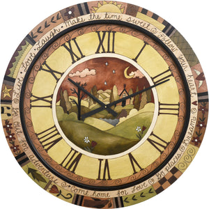 "Sticks handmade 36""D wall clock with elegant, neutral color scheme"