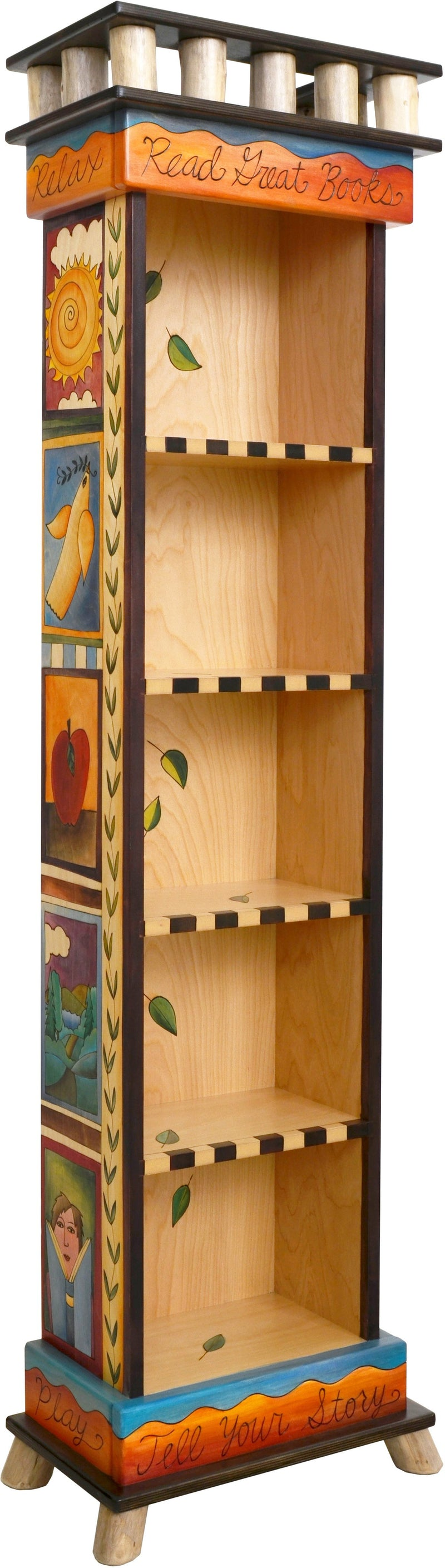Tall Bookcase –  Bright and contemporary folk art bookcase with colorful block icon motif