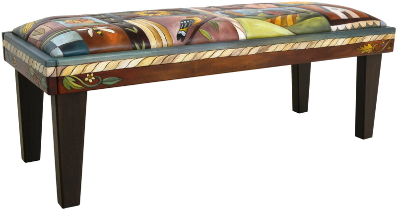 Sticks handmade 4' bench with colorful folk art imagery
