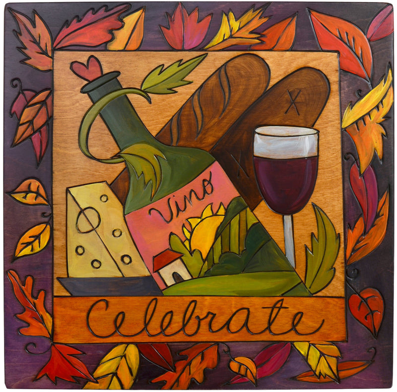"Sticks handmade wall plaque with ""Celebrate"" quote and wine and cheese imagery"