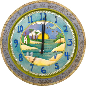 "Sticks handmade 36""D wall clock with blue, tropical coast theme"