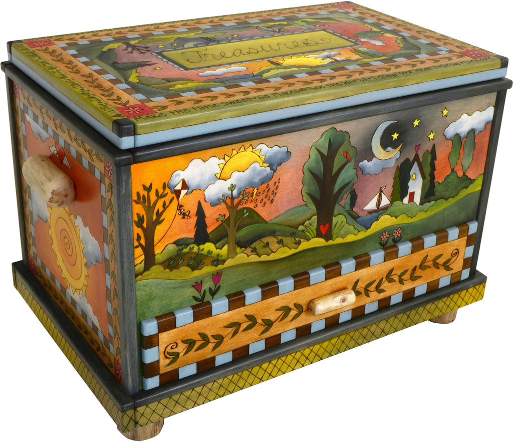 "Chest with Drawer –  ""Treasures"" chest with drawer with four seasons landscapes motif"