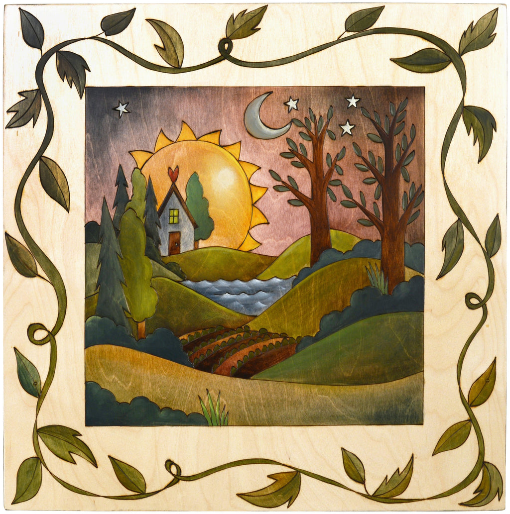 Sticks handmade wall plaque with rolling landscape and vine border