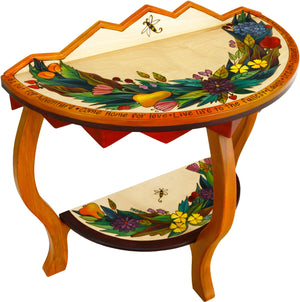 Small Half Round Table –  Pretty half round table with floral and fruit motifs