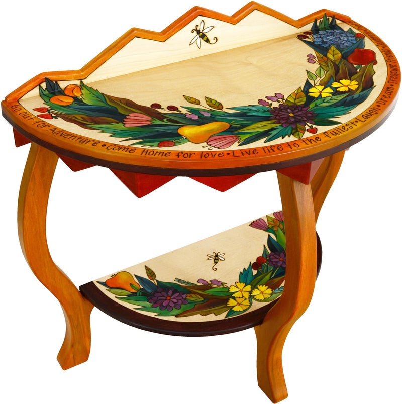 Sticks handmade half round table