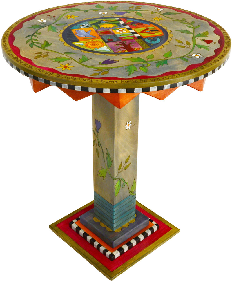 "Bar Height Table –  ""Tell Your Story"" bar height table with flower and vine motif"