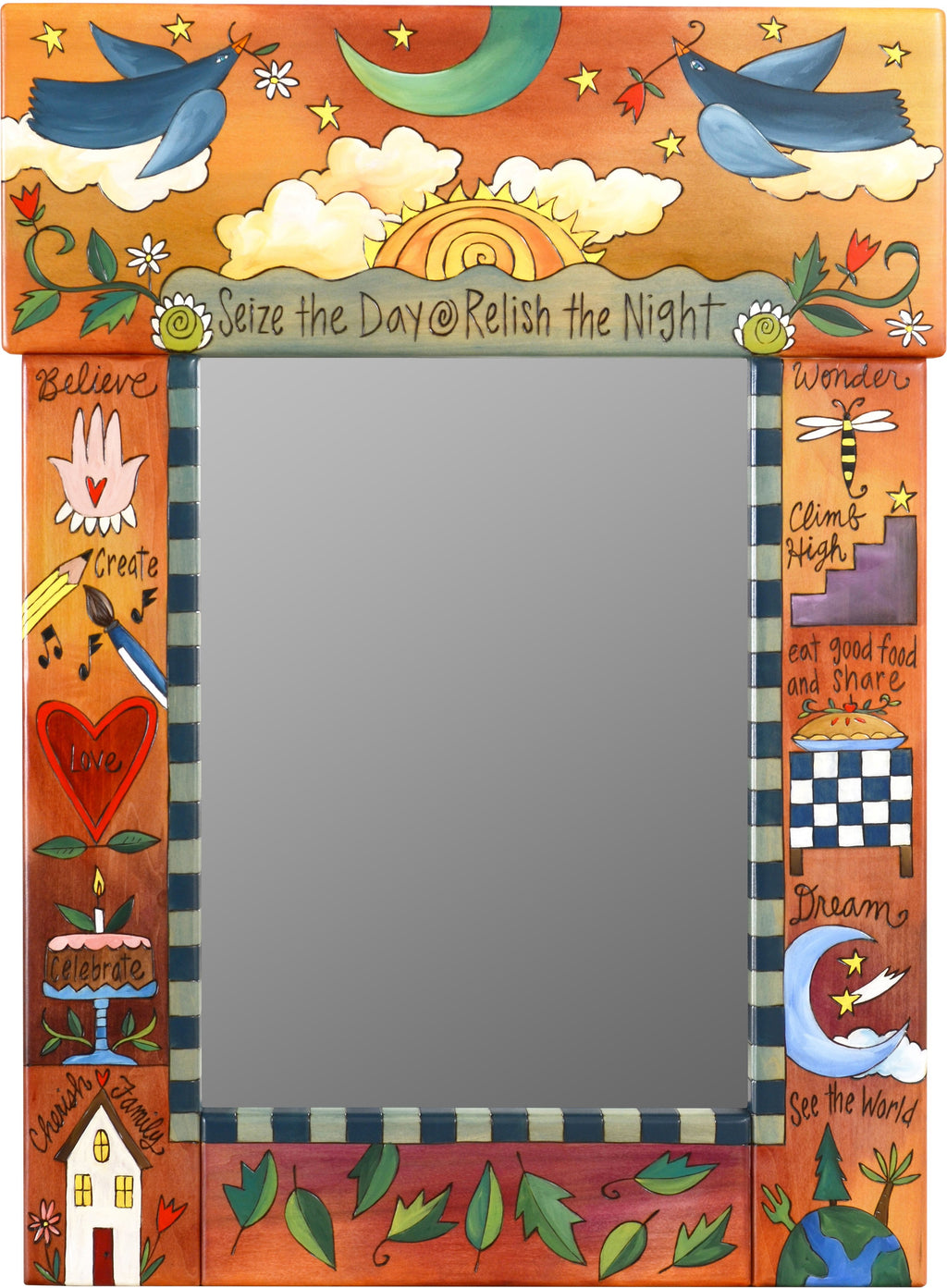 "Medium Mirror –  ""Seize the Day/Relish the Night"" mirror with bluebirds flying in the sunset motif"