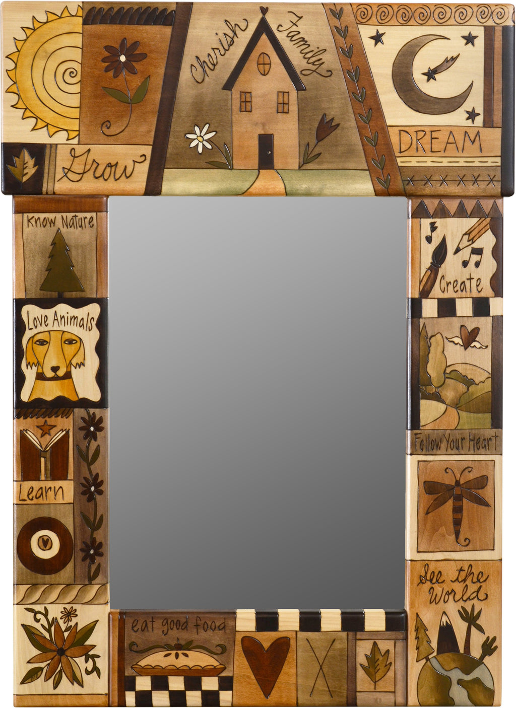 "Medium Mirror –  ""Cherish Family"" mirror with natural colored sun, moon and home motif"
