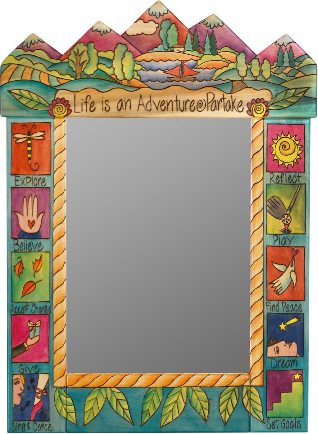"Medium Mirror –  ""Life is an Adventure/Partake"" mirror with sailboat on the lake and colorful mountains motif"
