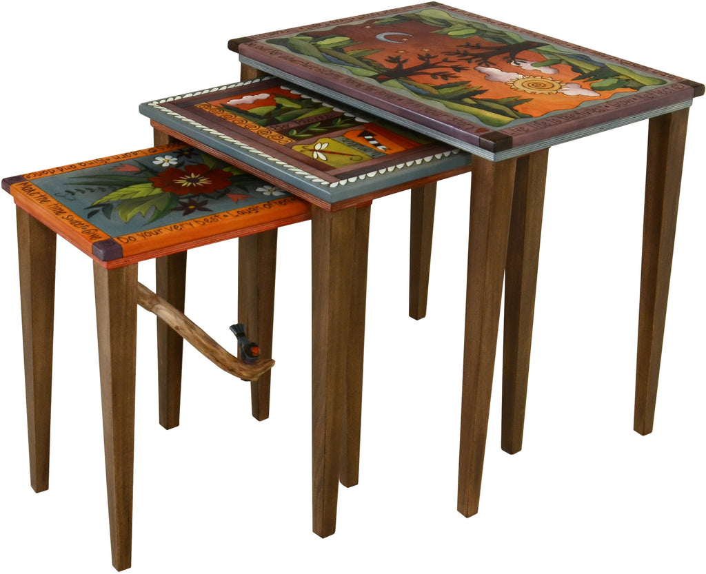 "Nesting Table Set –  ""Climb High/See the World"" nesting table set with sun and moon over the tree of life motif"