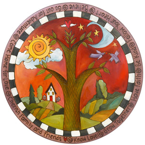 "20"" Lazy Susan –  Tree of life landscape design with love birds in flight on a vibrant red background"