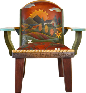 Friedrich's Chair and Matching Ottoman –  Lovely landscape motif with a sunset on a hillside
