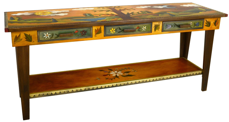 Sticks handmade sofa table with lovely floral and tree of life motif and rolling landscape