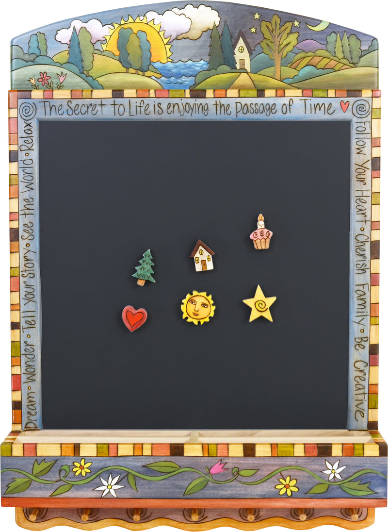 "Info Center –  ""The Secret to Life is Enjoying the Passage of Time"" activity board with sun and moon over the horizon motif"