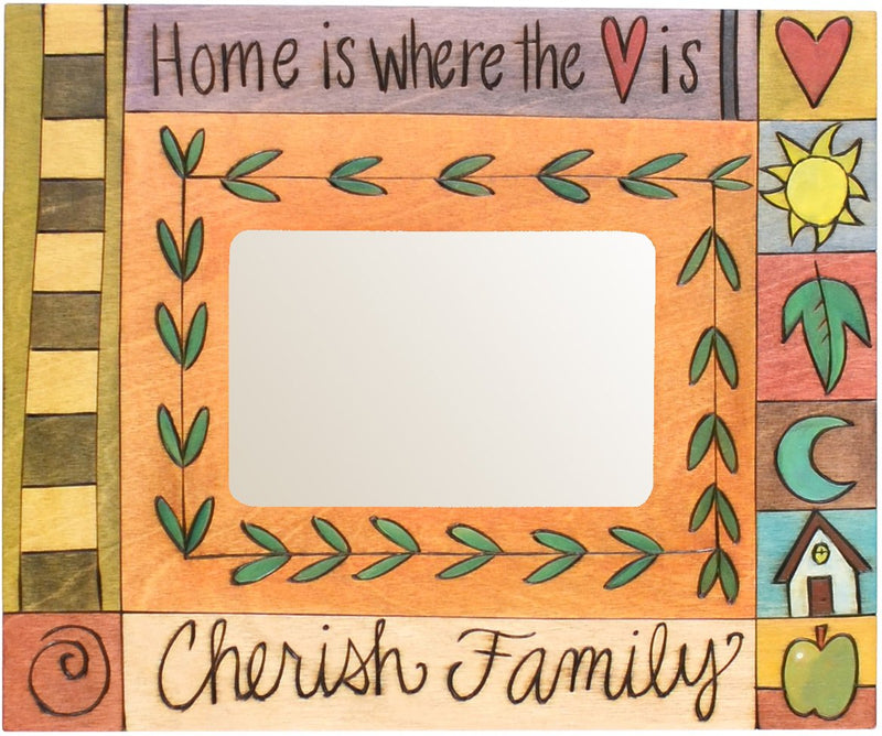 "Sticks handmade picture frame with ""Home is Where the Heart is"" and ""Cherish Family"" quotes"