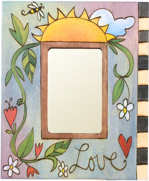"Sticks handmade picture frame with floral vine and word ""Love"""