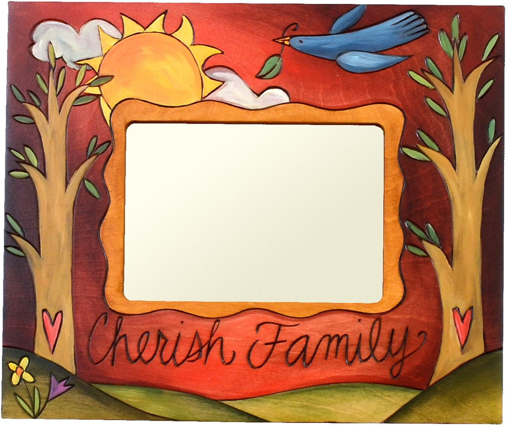 "Sticks handmade 5x7"" picture frame with cherish family motif"