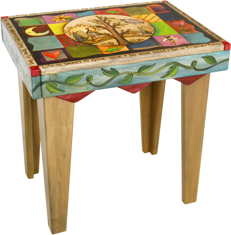 Rectangular End Table –  Lovely end table with tree of life and colorful block icons
