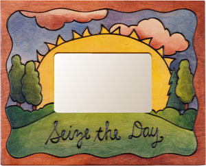 "Sticks handmade picture frame with sunrise landscape and ""Seize the Day"" phrase"
