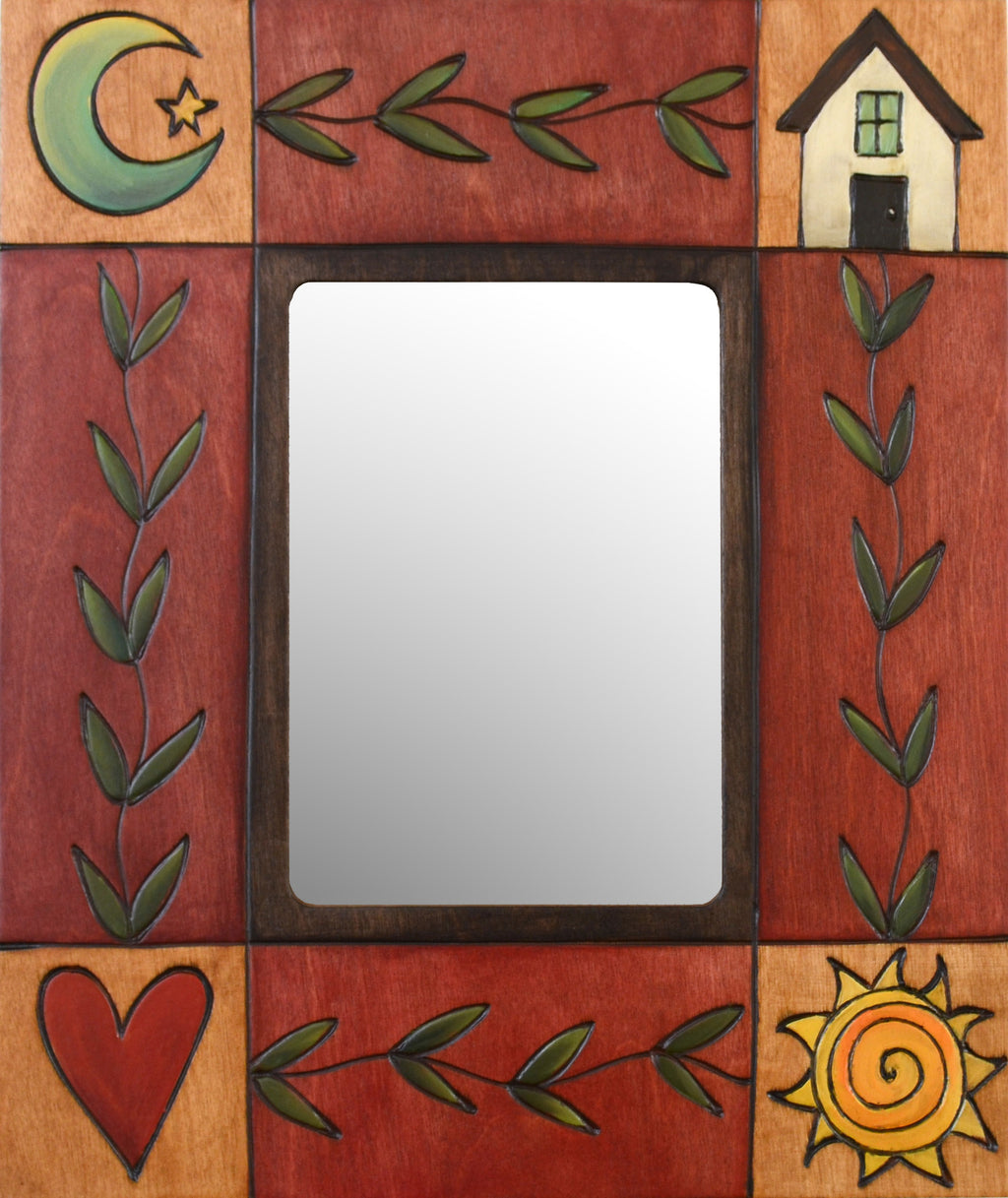 "Sticks handmade 5x7"" picture frame with vine and icon motif"