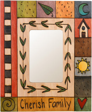 "Sticks handmade picture frame with colorful block icons and ""Cherish Family"" phrase"