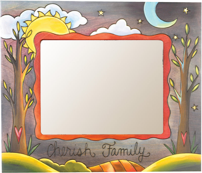 "8""x10"" Frame –  ""Cherish Family"" frame with sun and moon over trees motif"