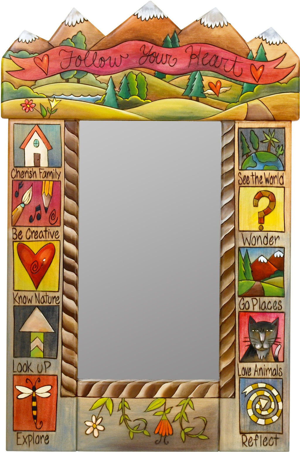 "Small Mirror –  ""Follow Your Heart"" mountain landscape mirror with colorful block icons and floral motifs"
