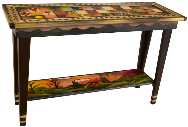 Sticks handmade sofa table with contemporary folk art design