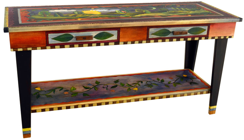 Sticks handmade 5' sofa table with drawers and rolling landscape design