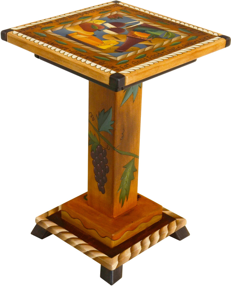 Martini End Table –  Wine and merriment themed end table with grape vine motifs