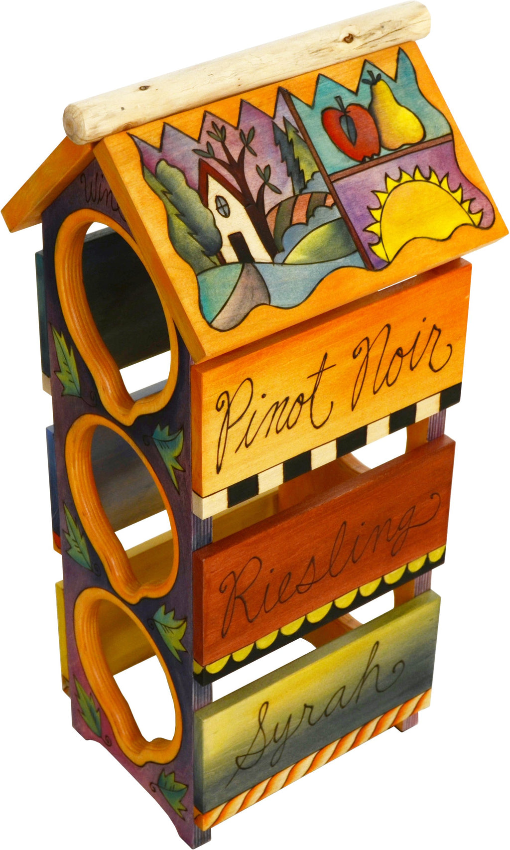 Sticks handmade wine rack with colorful life icons featuring pinot noir, champagne, riesling, merlot, syrah, and chardonnay