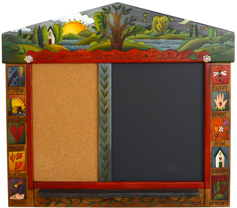 "Small Activity Board –  ""Life is an Adventure/Partake"" activity board with sun, moon and tree of life motif"