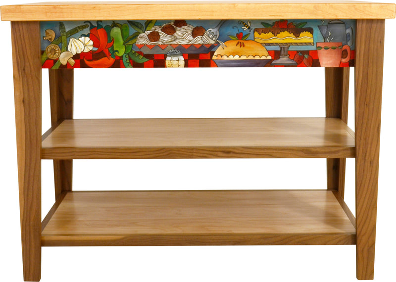 Kitchen Island –  Colorful kitchen island with various foods about a table motif