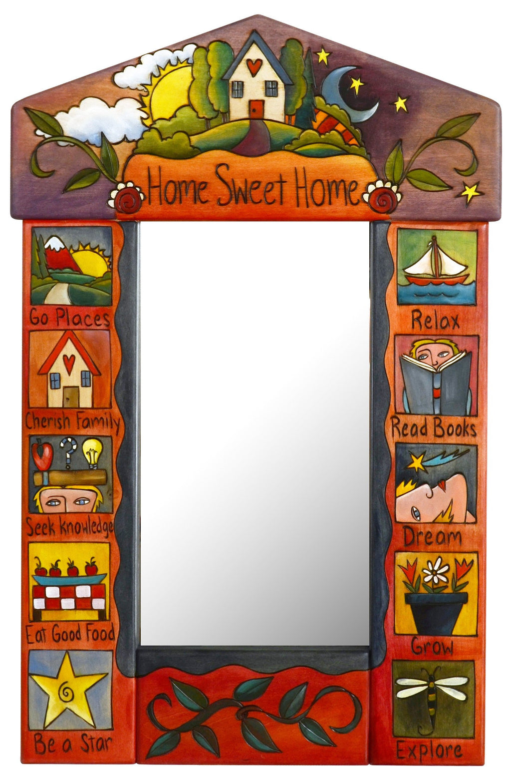 "Small Mirror –  ""Home Sweet Home"" mirror with sun and moon over a cozy home motif"