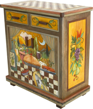 Small Buffet –  Small buffet with food in the kitchen with sun and moon in the sky motif