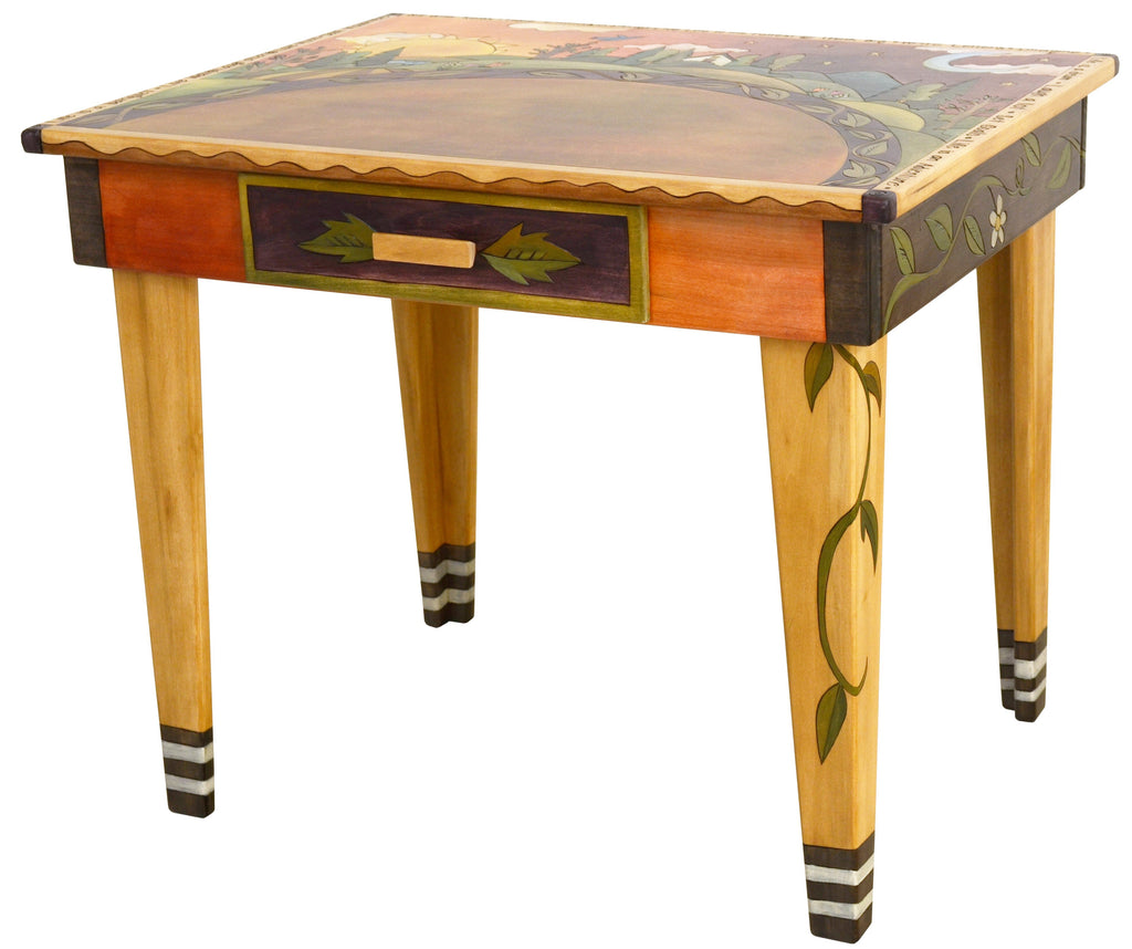 "Deep Desk –  ""Live Life to the Fullest"" deep desk with sun and moon over the horizon motif"