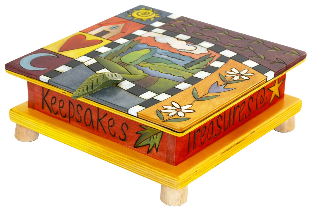 Keepsake Box – Beautiful crazy quilt box motif with landscape in its center